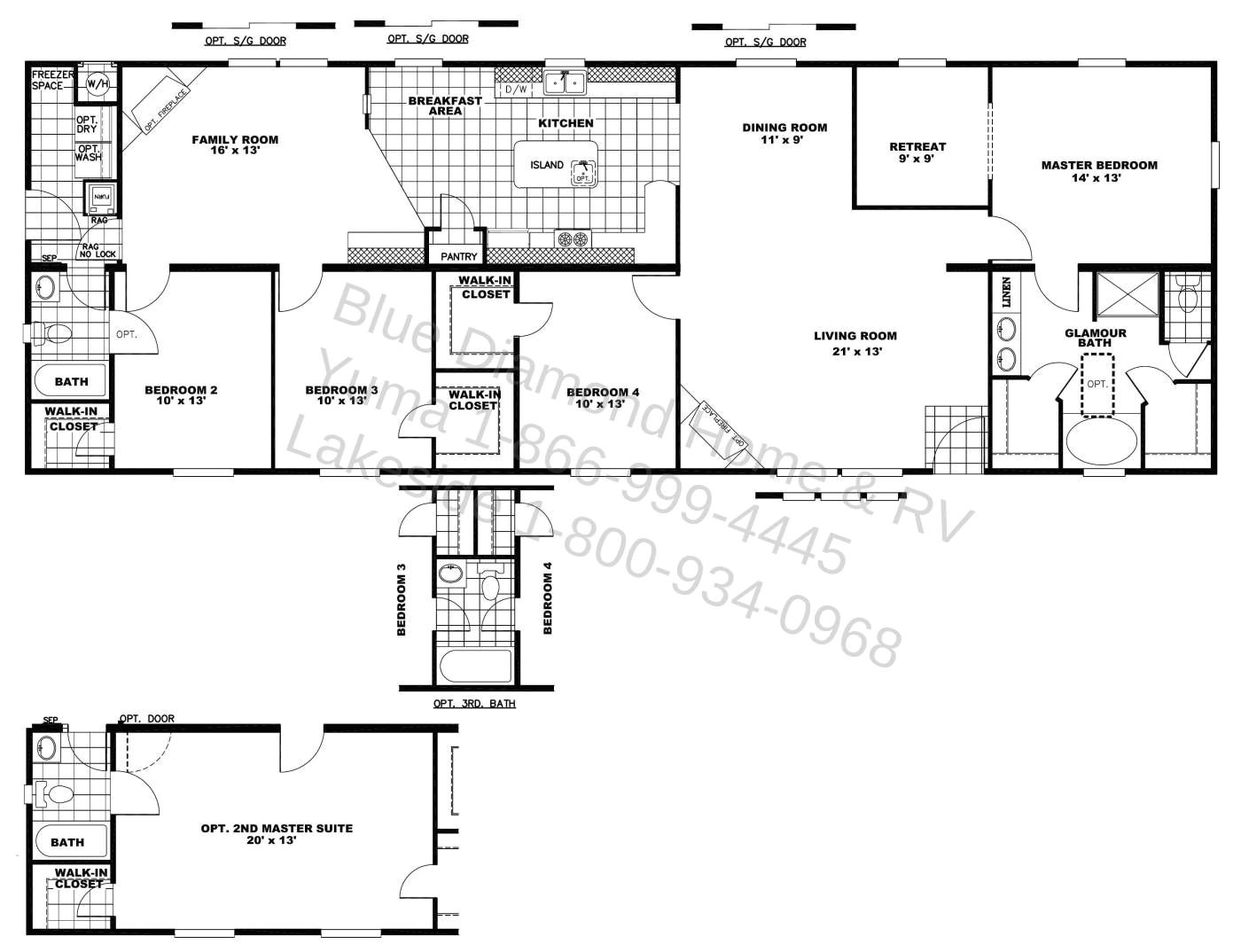 1 level house plans with 2 master suites