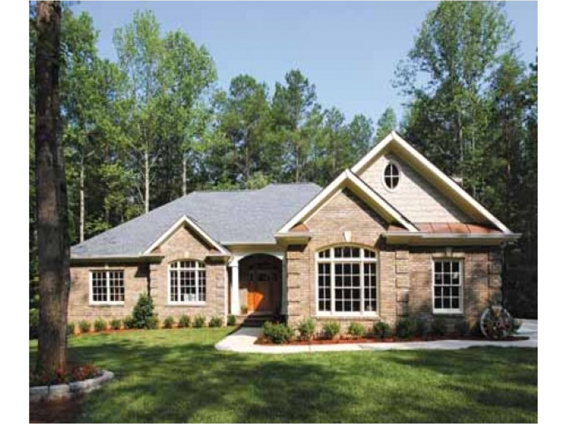 one story house plans with brick and stone 2