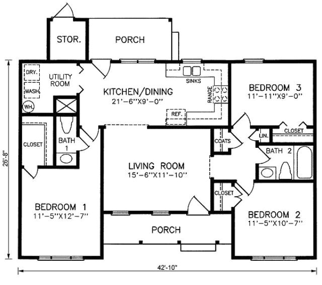 1100 Sq Ft Home Plans 1100 Square Foot House Plan Layout House Layout