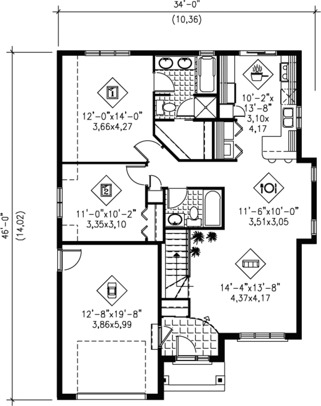 1100 square feet 2 bedrooms 2 bathroom european house plans 1 garage 1519