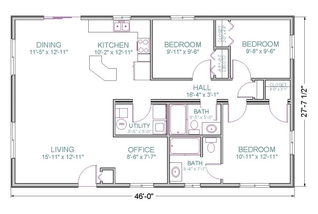 house plan in 1100 sq feet