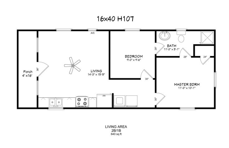 14 X 40 House Plans 12 by 40 House Plans Windows Full Bath W D Hookup