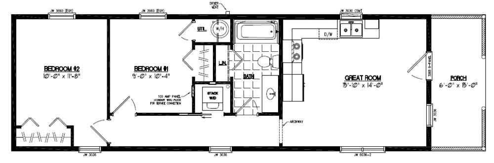 14 x 40 house plans