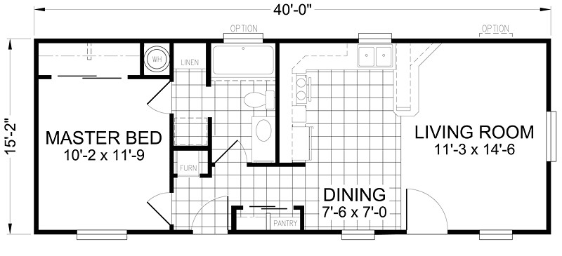 16x40 1 bedroom 1 bath 607 square feet