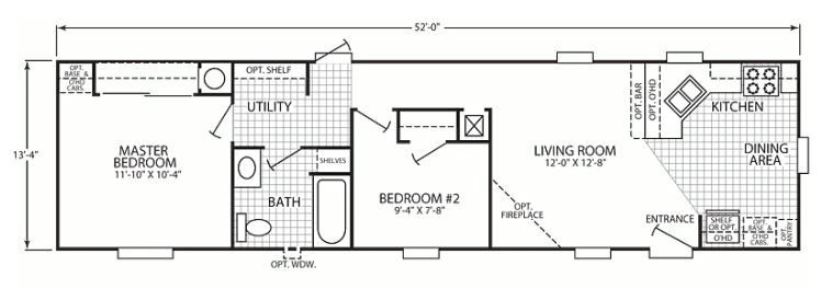 14x70 mobile home floor plan