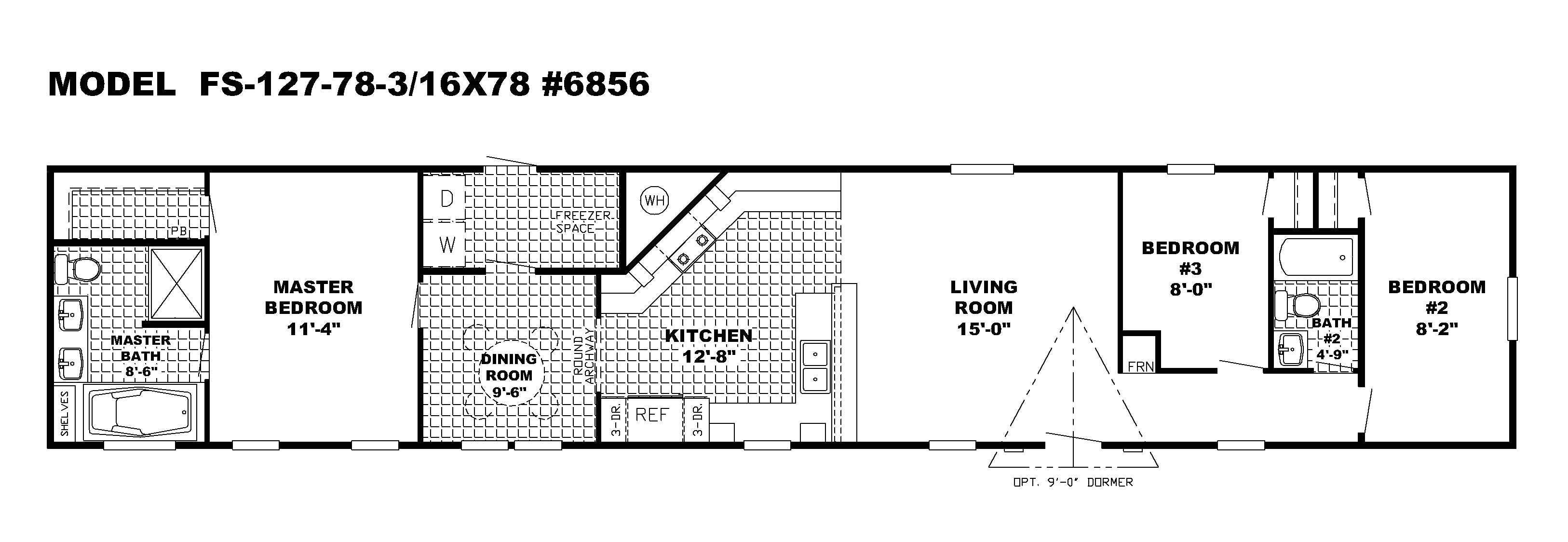 2 bedroom single wide mobile home floor plans