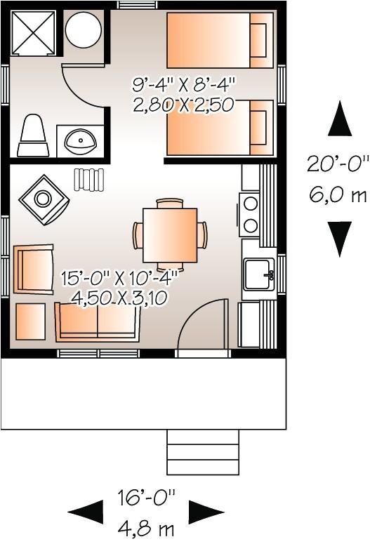 plano de casa 1 piso 1 bano 1 dormitorio de 30 metros cuadrados