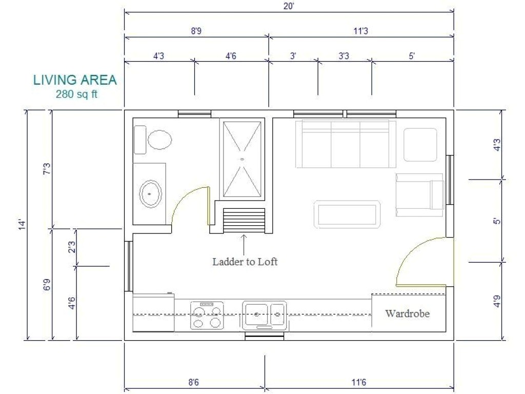 16×20 House Plans 16×20 Cabin Plan with Loft 16 by 20 Floor Plans