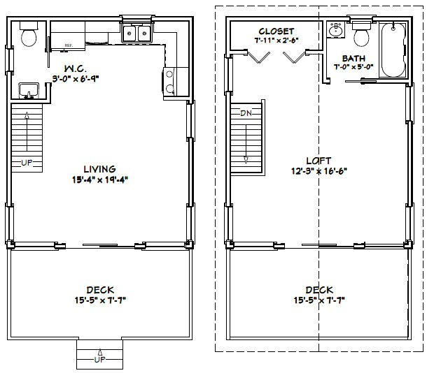 16×20 House Plans 16×20 House 16x20h1 620 Sq Ft Excellent Floor