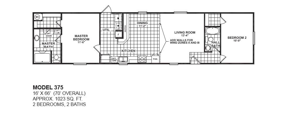 model 375 16x66 2bedroom 2bath oak creek mobile home 2