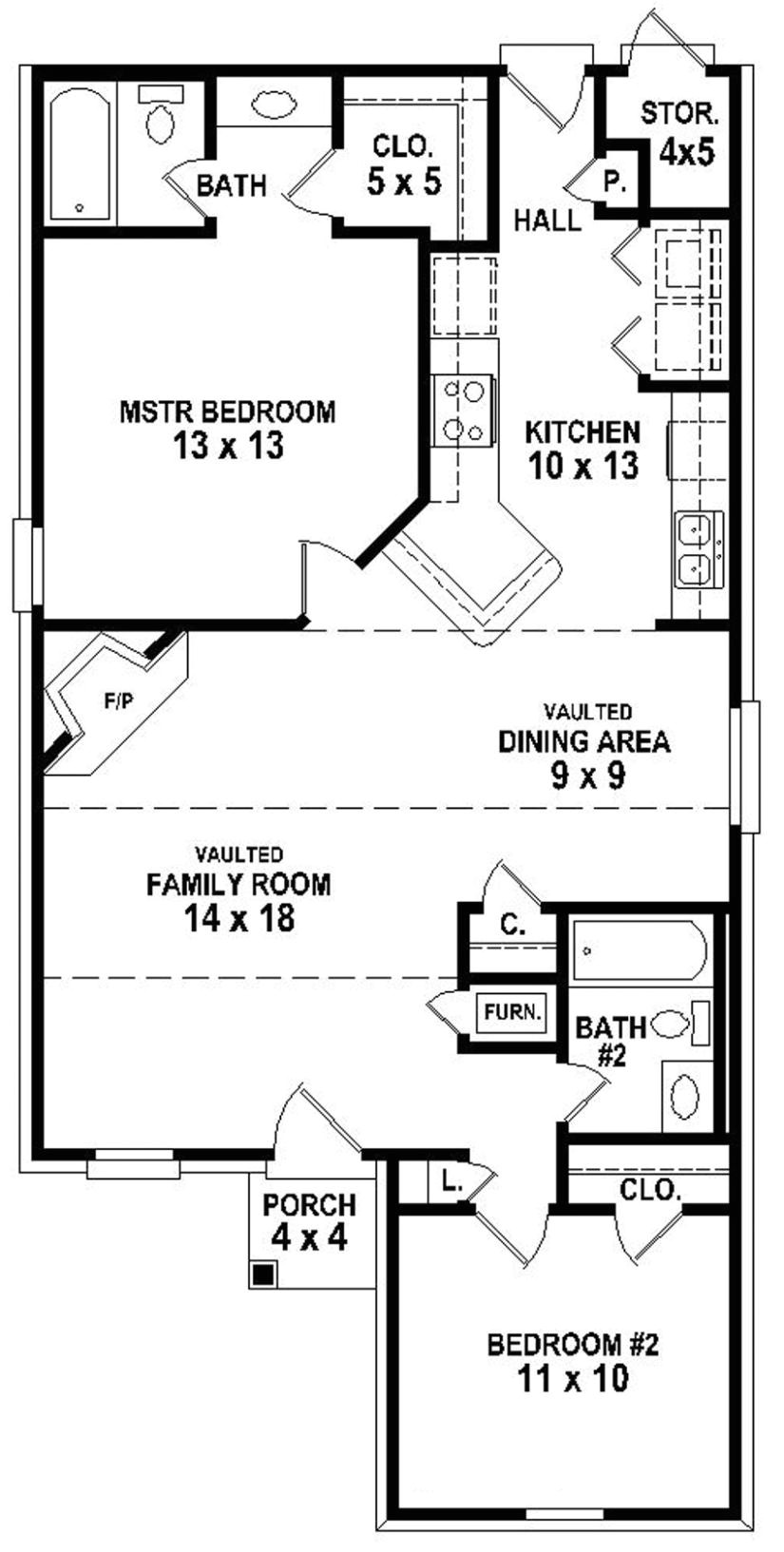 654334 simple 2 bedroom 2 bath house plan