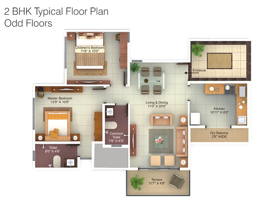 2 bhk flat design plans