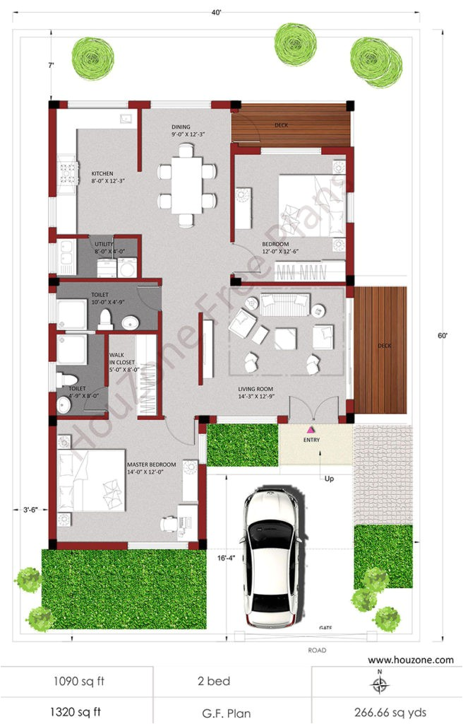 house plans for 2bhk house