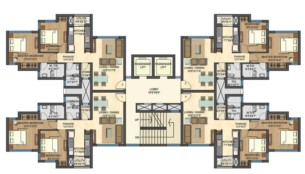 simple 2 bhk plans placement
