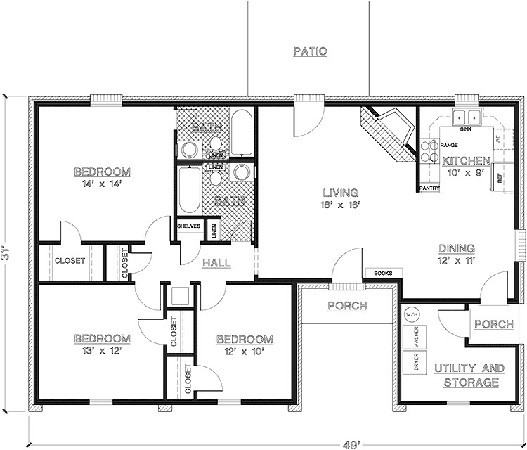 2 Br 2 Ba House Plans 2 Bedroom House Plans 1000 Square Feet Home Plans