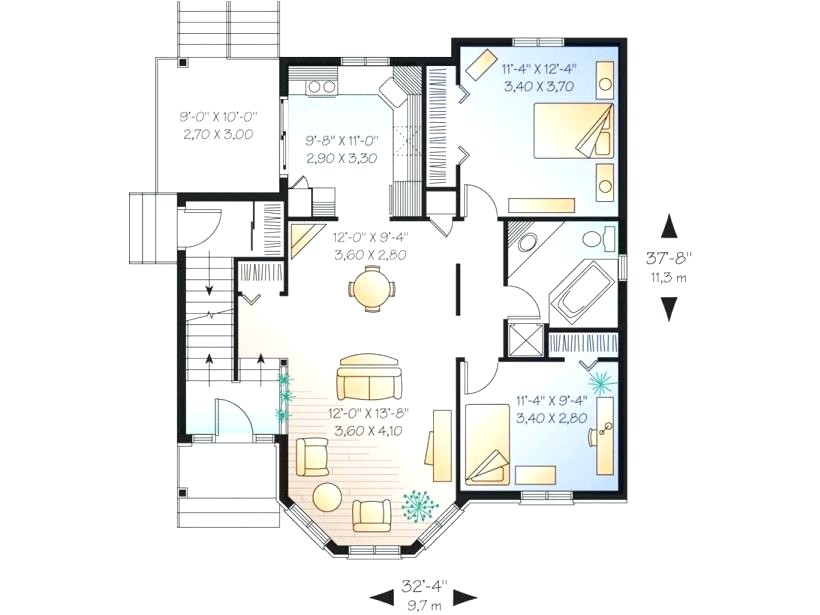 1000 sq ft two story home designs