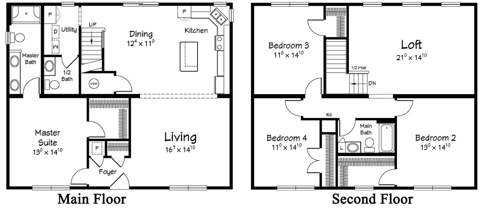 4 bedroom 2 story modular home floor plans