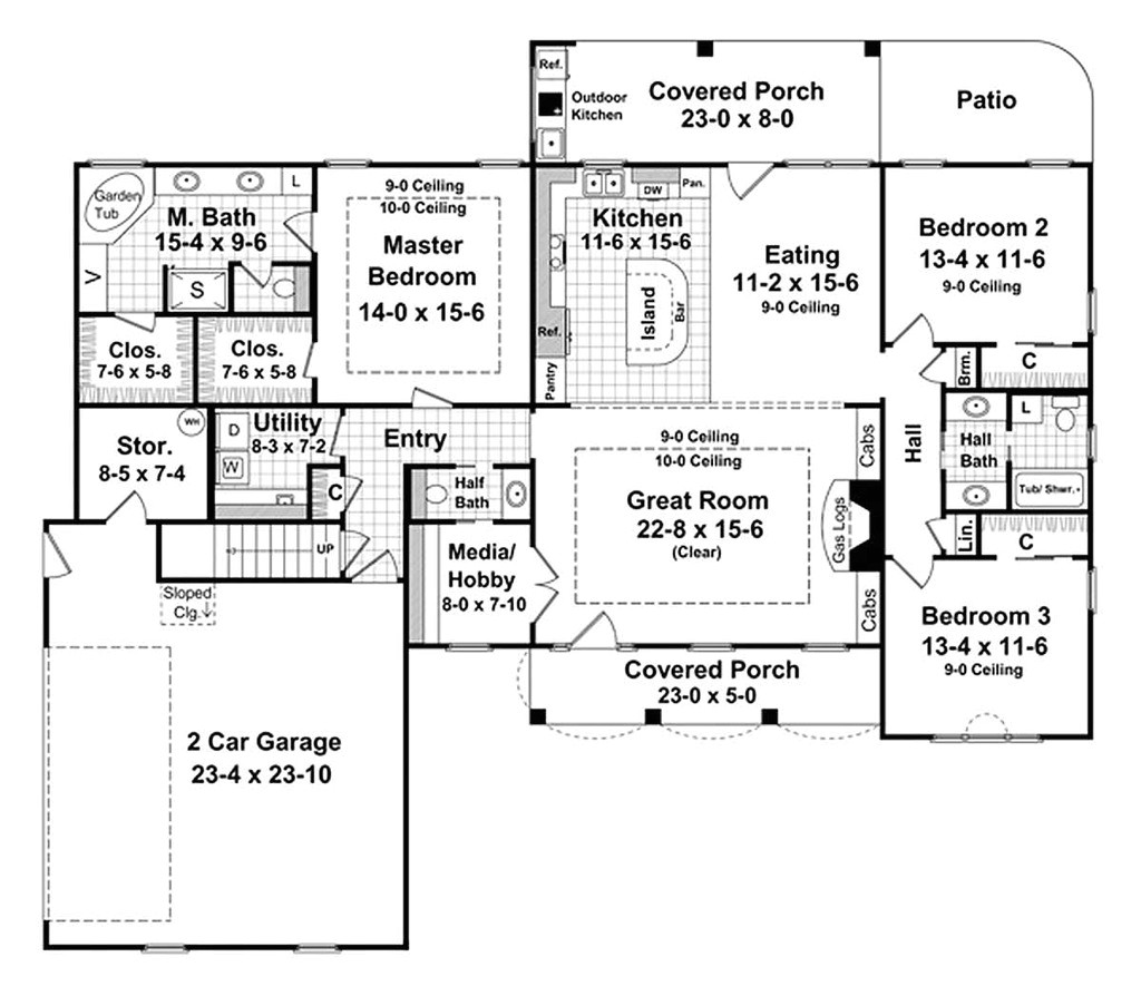 2000 square feet 3 bedrooms 2 5 bathroom traditional house plans 2 garage 27324