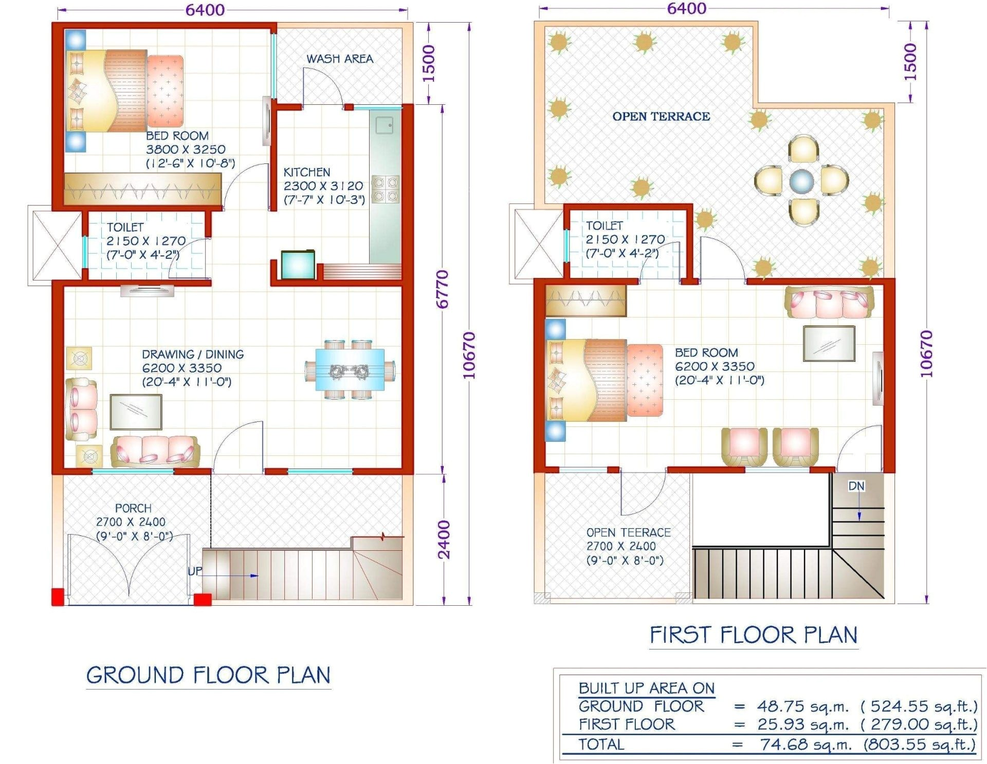 20 x 40 duplex house plans 800 square feet
