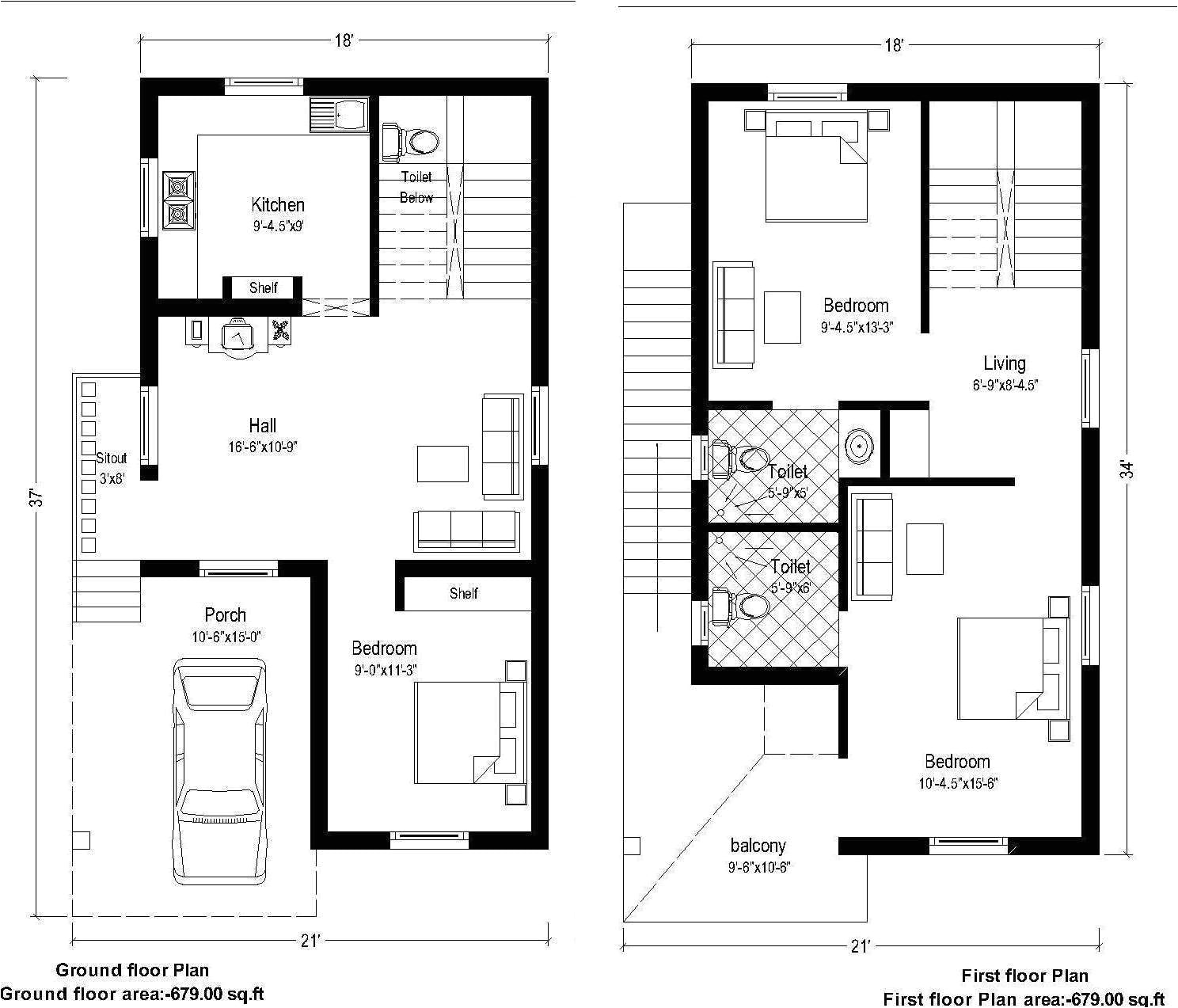 duplex house plans for 20x30 site south facing