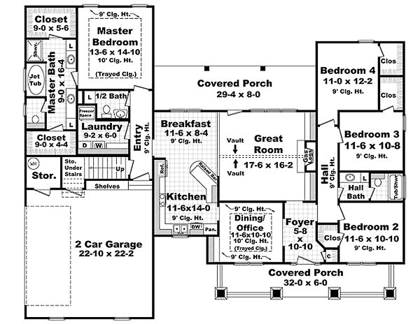 2100 square feet 4 bedrooms 2 5 bathroom country house plans 2 garage 31164