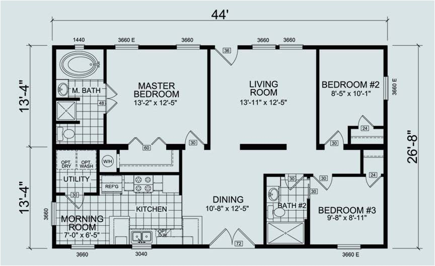 24 x 60 mobile home floor plans