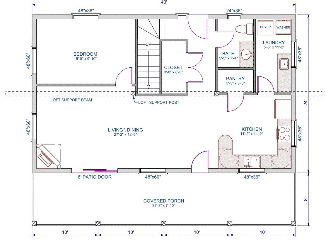 11265 homes floor plans 24 x 40