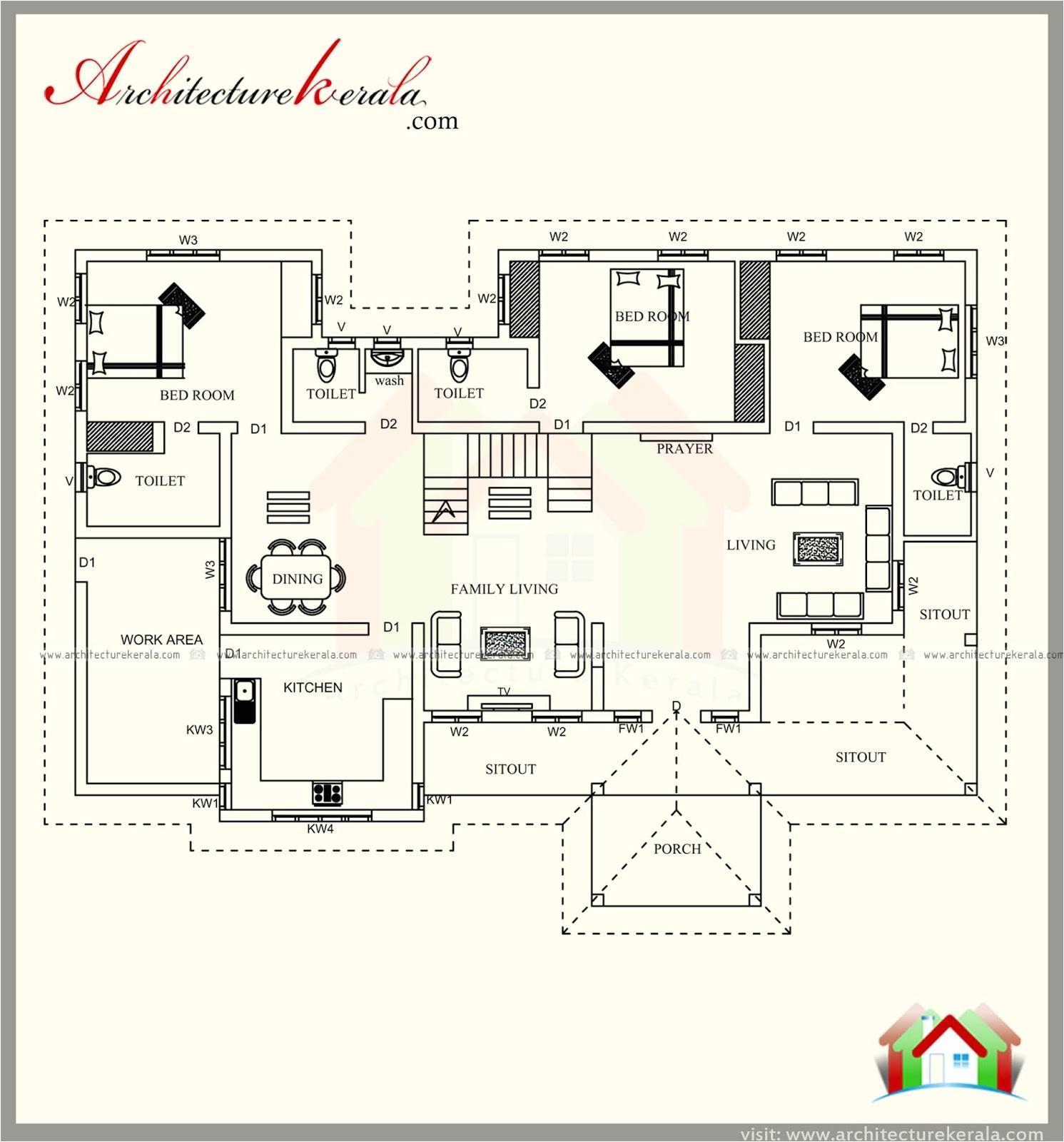 2500 square feet kerala style house plan three bedrooms