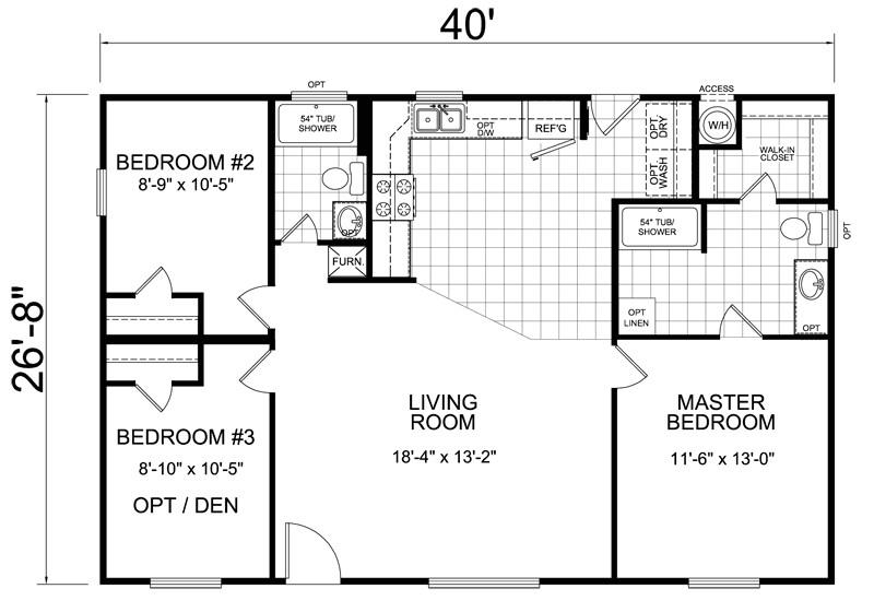 28 x 40 3 bed 2 bath 1066 sq ft