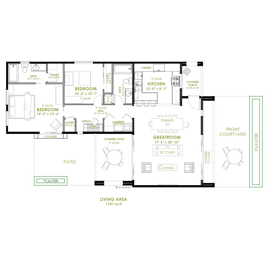 2bedroom House Plan Modern 2 Bedroom House Plan