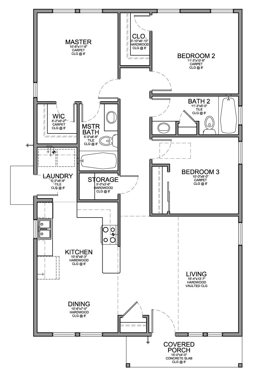 3 Bedroom Floor Plans Homes Floor Plan for A Small House 1 150 Sf with 3 Bedrooms and