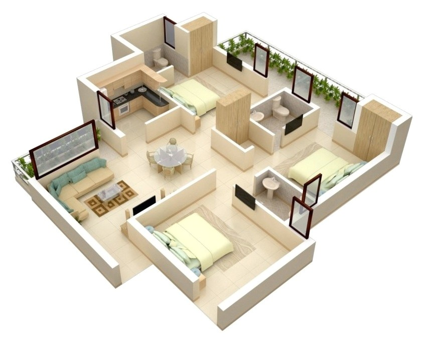 3 Bedroom Home Floor Plans 3 Bedroom Apartment House Plans