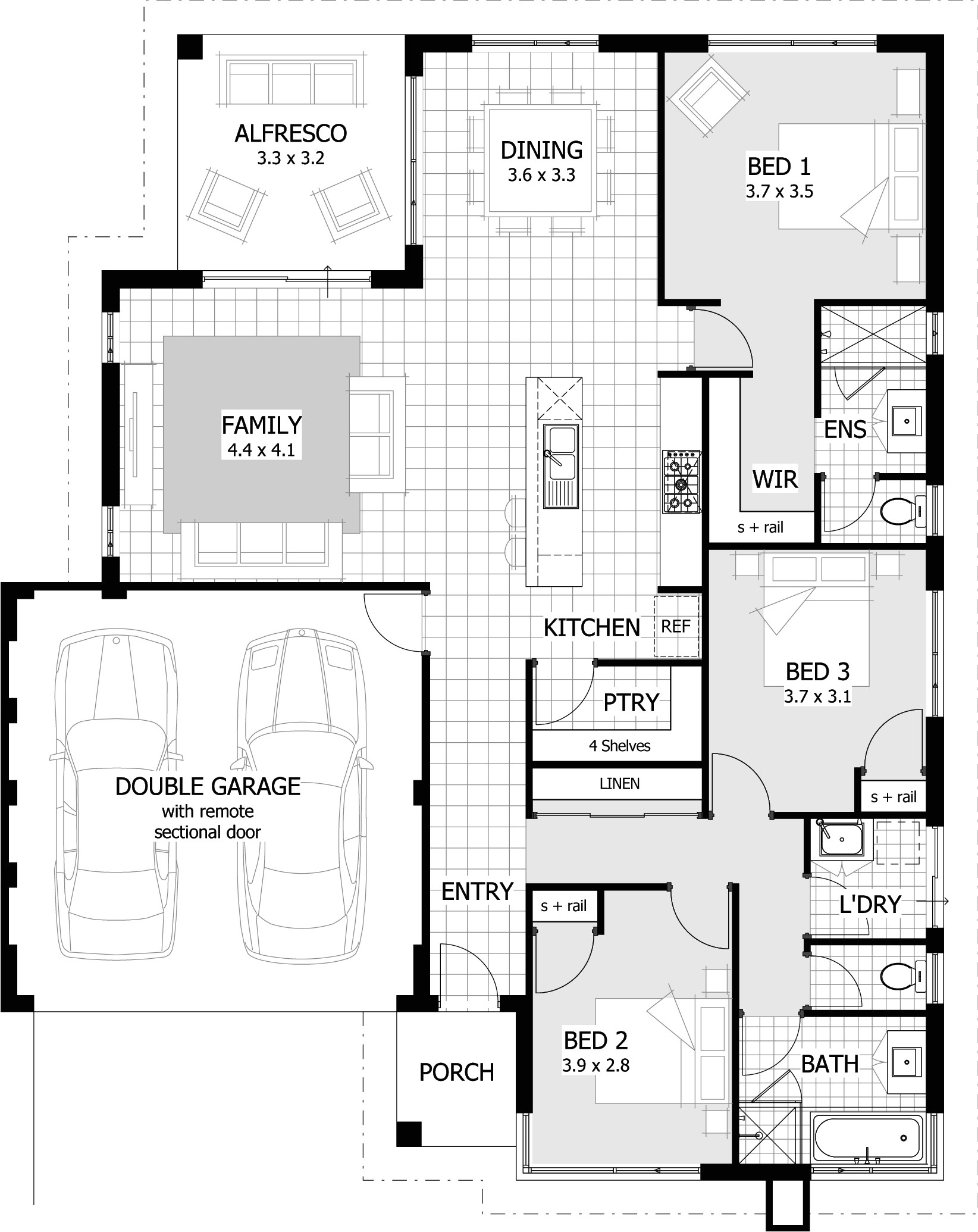 3 bedroom homes floor plans with garage