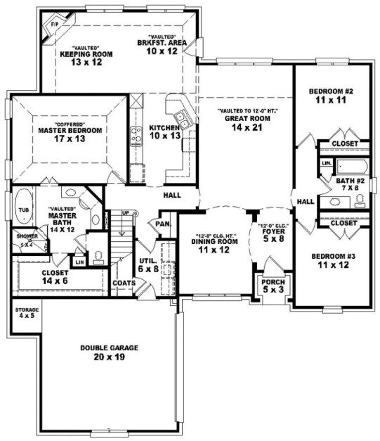 simple house plan with 3 bedrooms and garage