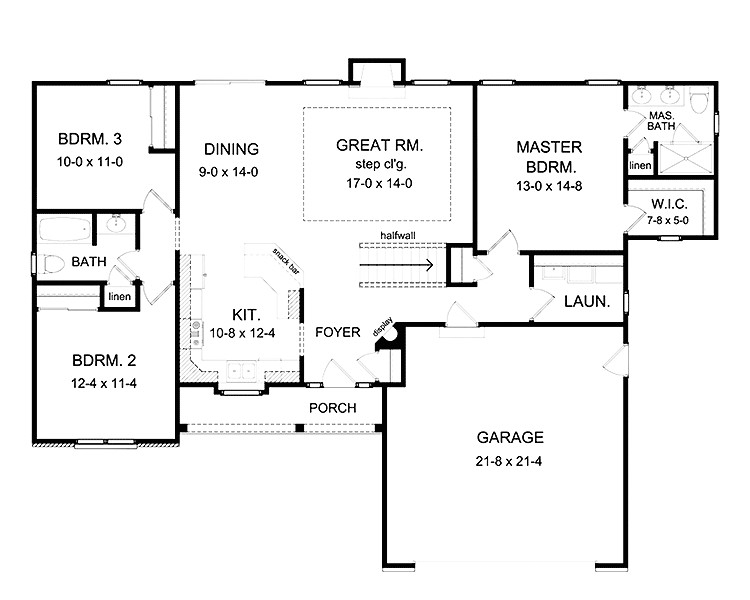 lovely 3 bedroom house plans with basement 8 ranch house plans with open floor plan