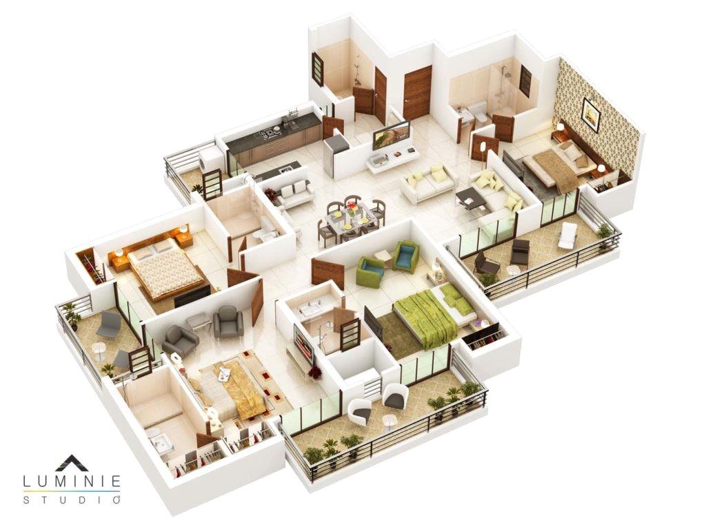 3d floor plans cut section