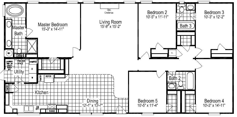 5 bedroom 3 bath mobile home plans