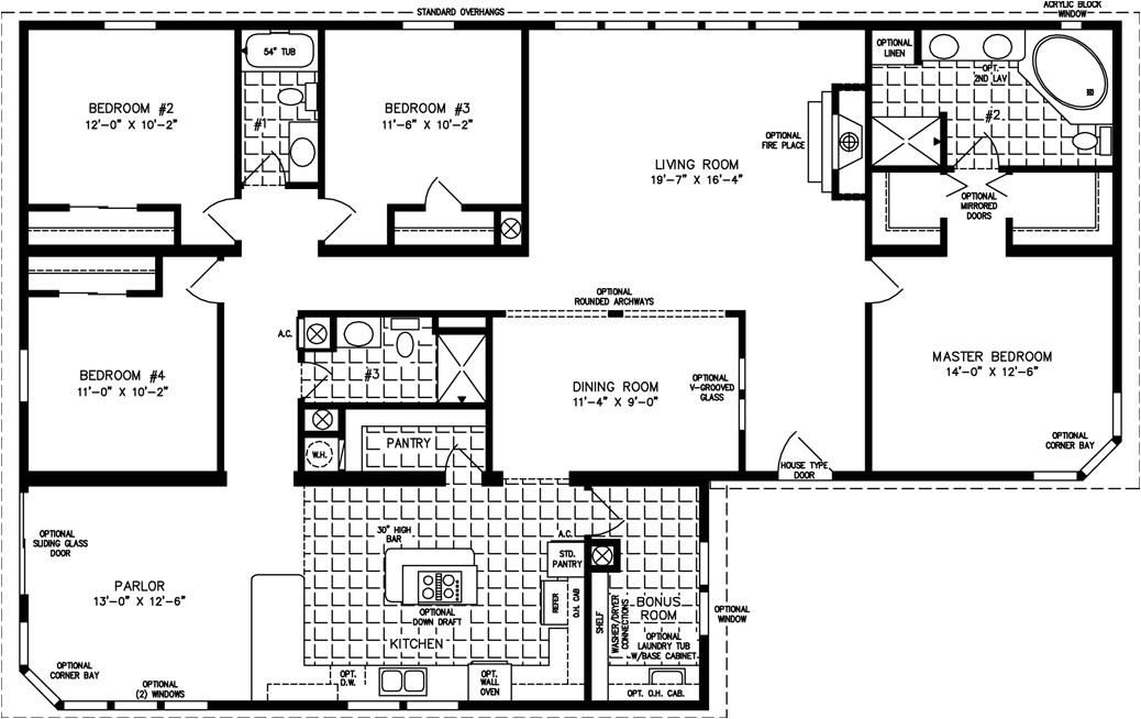 4 Bed 3 Bath Manufactured Home Floor Plans Four Bedroom Mobile Homes L 4 Bedroom Floor Plans
