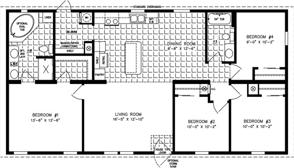 4 Bedroom 2 Bath Mobile Home Floor Plans 1200 to 1399 Sq Ft Manufactured Home Floor Plans