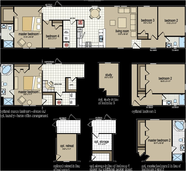 4 bedroom 2 bath single wide mobile home floor plans