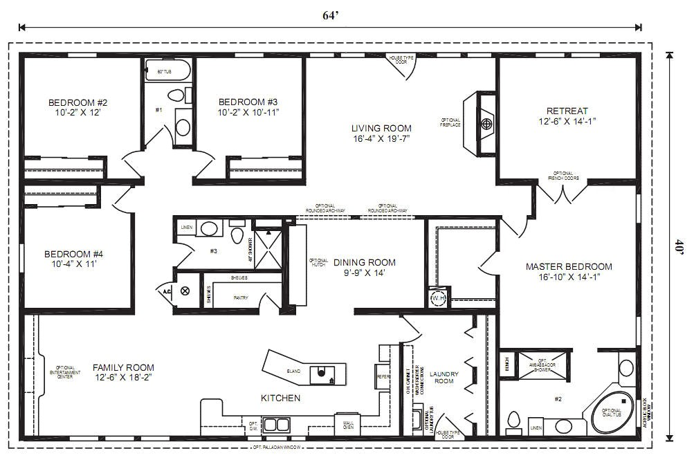 4 Bedroom 2 Bath Mobile Home Floor Plans Modular Home Plans 4 Bedrooms Mobile Homes Ideas