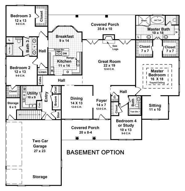 4 Bedroom 3 Bath House Plans with Basement 3 Bedroom House Plans with Basement Smalltowndjs Com