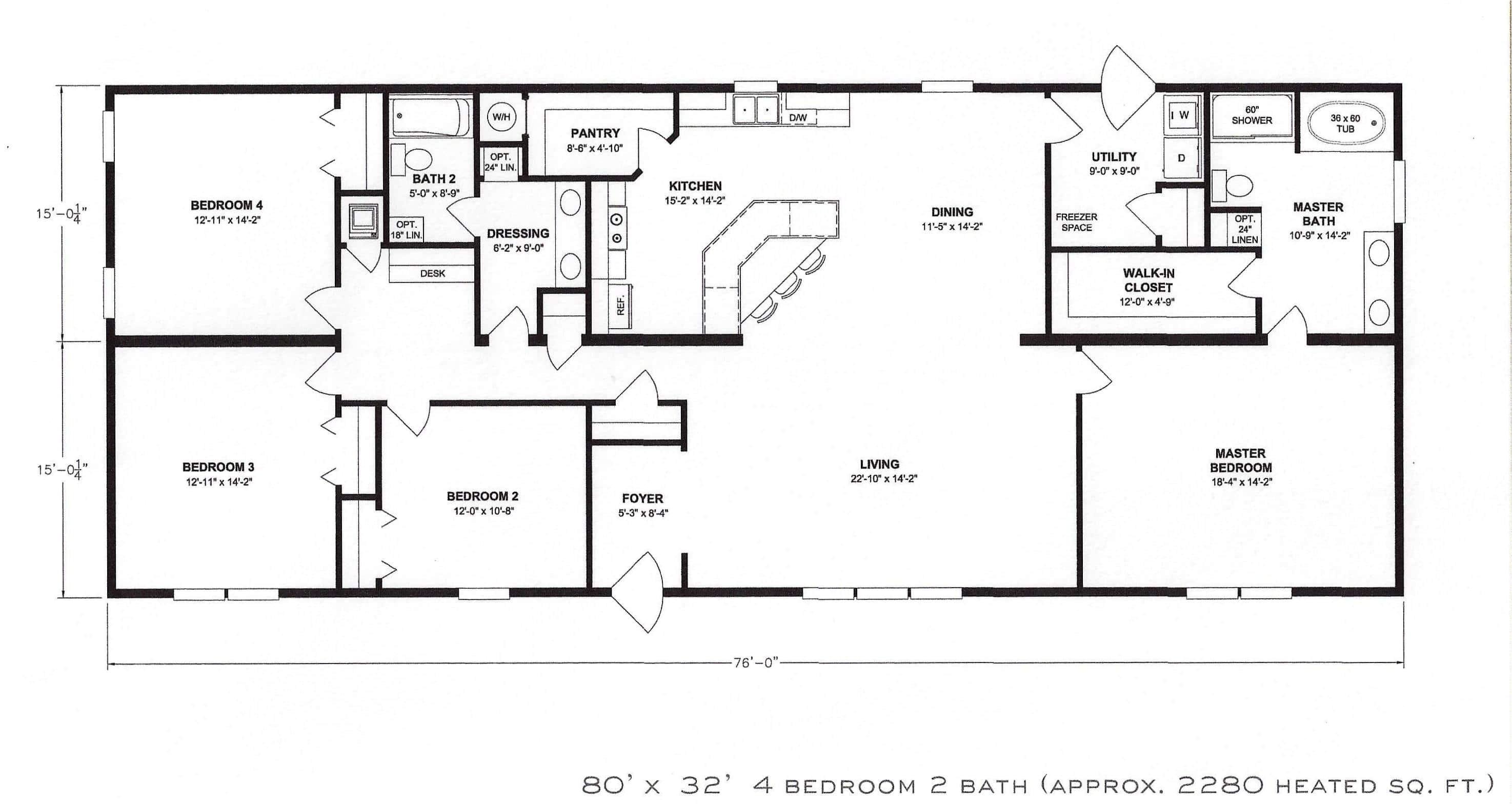 4 bedroom floor plan f 1001
