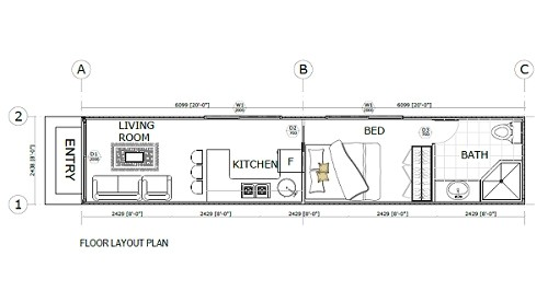 40 ft container home floor plan