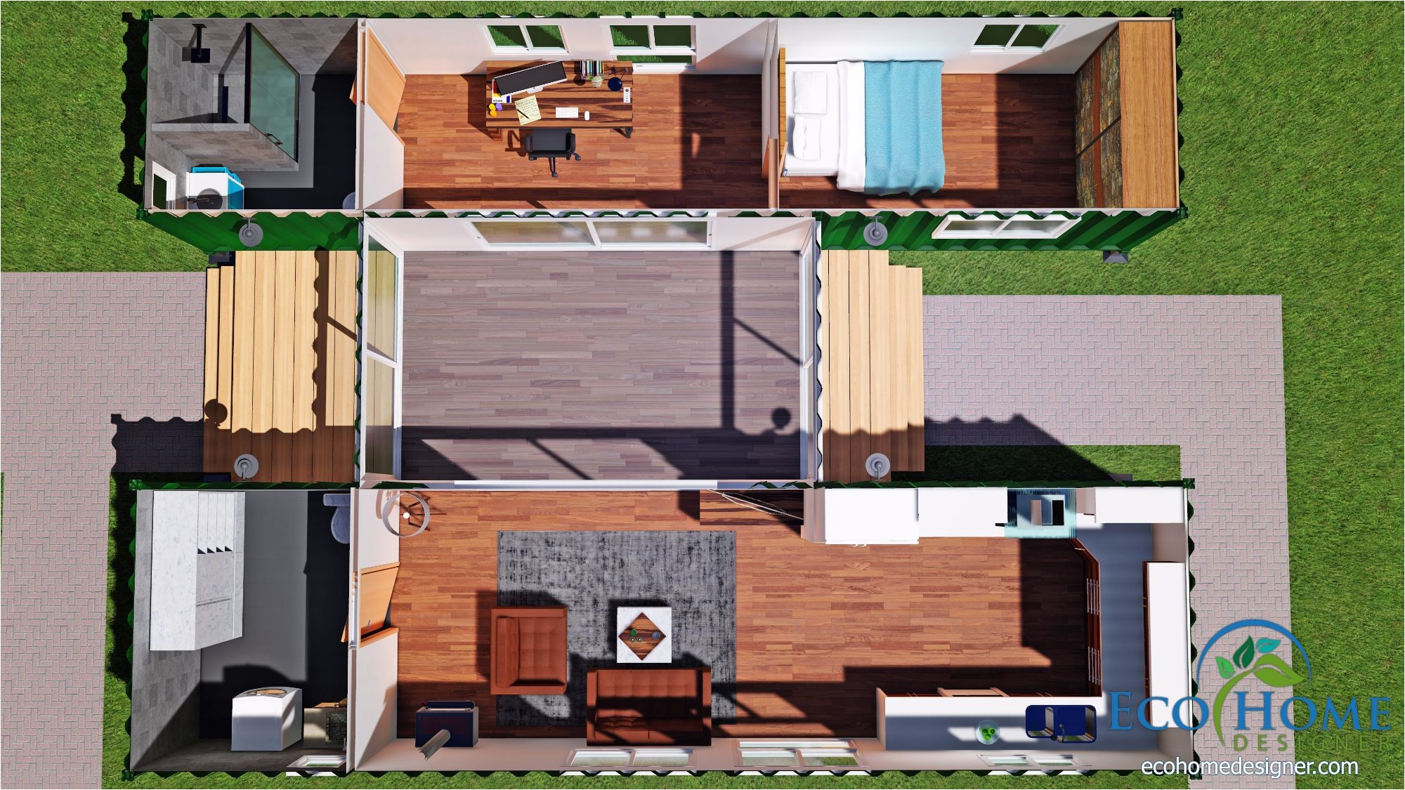 sch15 2 x 40ft container home with breezeway