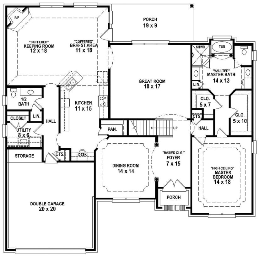 654193 french country 3 bedroom 2 5 bath house plan