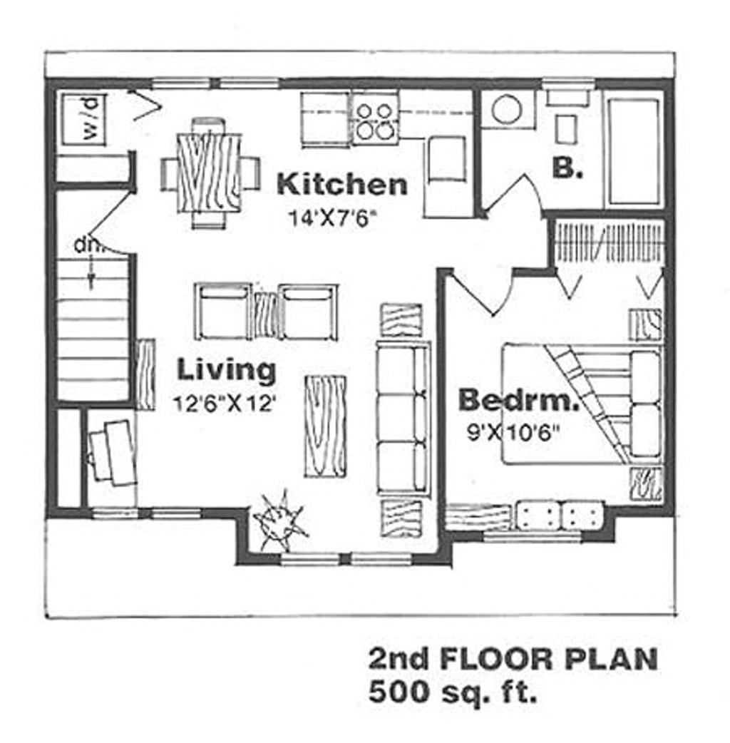 500 square feet 1 bedrooms 1 bathroom country house plans 2 garage 15342