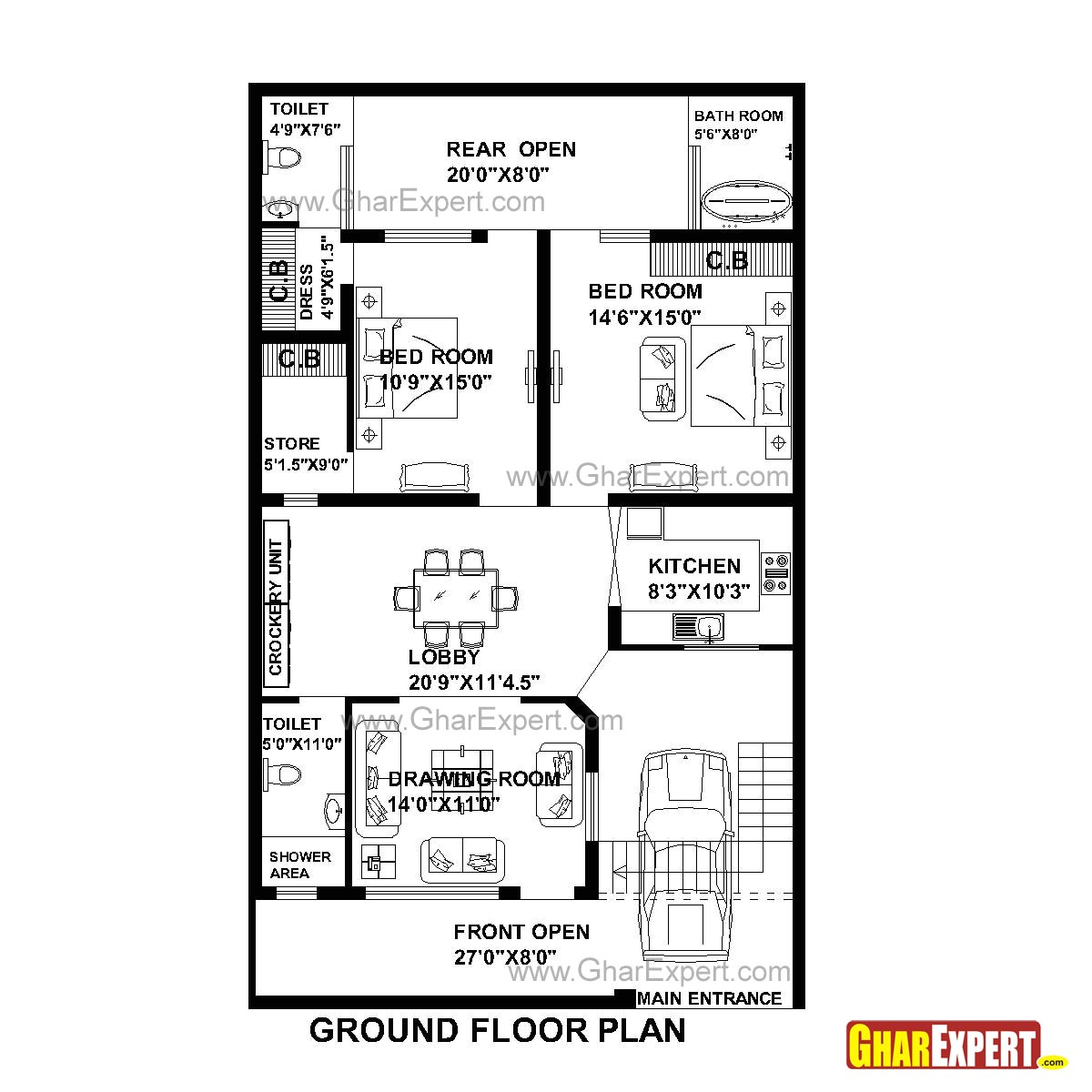 plan for 33 feet by 55 feet plot plot size 202 square yards plan code 1341