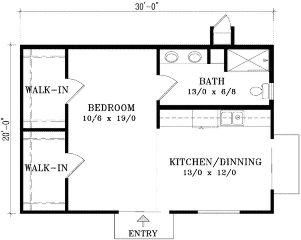 20 x 30 plot 600 square feet home plan