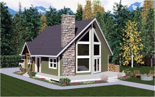 A Frame House Plans with attached Garage House Plan 99946 at Familyhomeplans Com